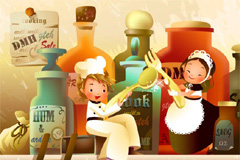 韩国精美厨房主题卡通插画矢量素材