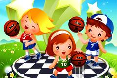 可爱卡通儿童篮球运动矢量素材