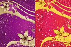 2款手绘花卉流行背景矢量素材
