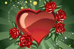 2款精美心形与玫瑰潮流插画矢量