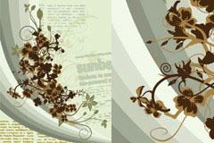 一款怀旧风格素雅花卉封面背景矢量素材