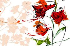 几款抽象手绘花卉背景矢量素材