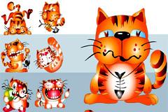 超可爱卡通猫矢量素材