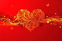 浪漫情人节精美心形背景矢量素材