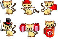 可爱卡通小猫咪矢量素材