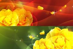 几款梦幻浪漫花卉背景矢量素材