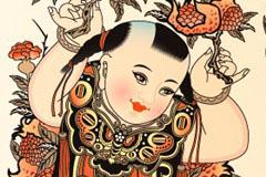 中国传统童子祝寿图矢量素材