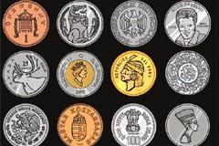 CDR格式世界各地纪念币矢量素材