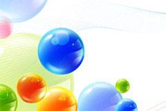 水晶质感圆球清新背景矢量素材
