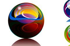 精美幻彩水晶球矢量素材