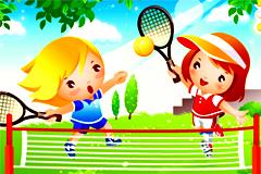 可爱卡通儿童网球运动矢量素材