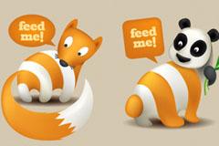 可爱动物主题RSS订阅图标矢量素材