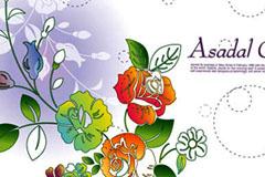 一组梦幻时尚花卉花纹背景矢量素材