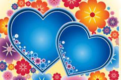 一款可爱蓝色心形与花卉背景矢量素材