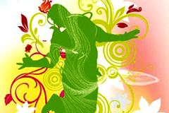 舞蹈人物与动感花纹矢量素材