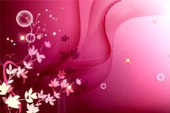 梦幻花卉与动感线条背景矢量素材