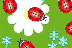 可爱瓢虫花朵连续背景矢量素材
