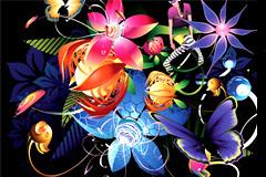 炫彩潮流花卉背景矢量素材