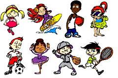 可爱卡通运动儿童矢量素材