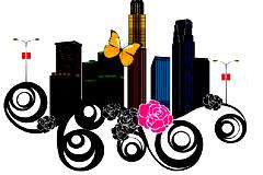 创意花纹城市建筑图矢量素材