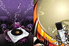音乐主题潮流麦克风和DJ矢量图下