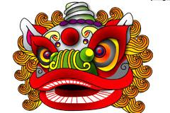 中国风狮子头矢量素材