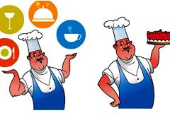 卡通风格厨师角色矢量素材