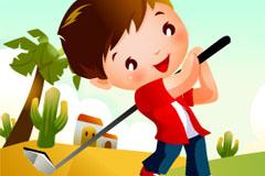 高尔夫卡通儿童运动矢量素材