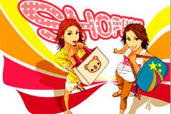 卡通风格可爱购物女孩矢量素材