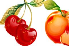 水晶诱人樱桃和黄桃矢量素材