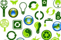 一组个性实用绿色环保标志矢量素材