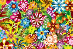 2款绚丽花卉花纹平铺背景矢量素材
