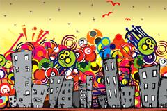 有趣卡通城市建筑插画矢量素材