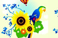 生动鹦鹉插画矢量素材