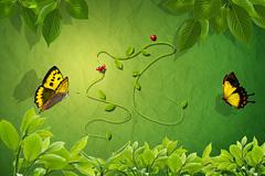 绿色花园和蝴蝶PSD分层素材