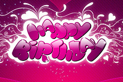粉色生日快乐字体PSD分层素材