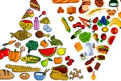 各种食物组成的金字塔矢量素材
