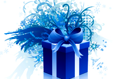 精美蓝色礼盒矢量素材