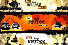 怀旧风格咖啡和茶文化主题banner矢量素材
