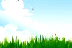 草长莺飞夏季郊外风景矢量素材