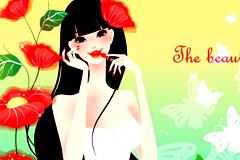 花丛中的漂亮女孩矢量素材