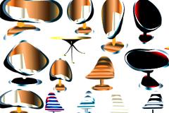 各种时尚座椅和炫彩花纹矢量素材