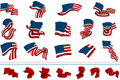 形状各异美国国旗元素矢量素材