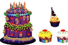 卡通风格可爱蛋糕矢量素材