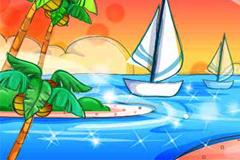 手绘夏日海滨风景矢量素材