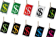各种颜色货币标志吊牌矢量素材