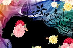 动感美女剪影和精美花卉背景矢量素材