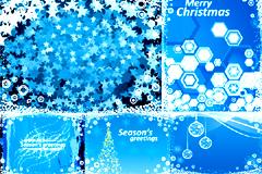 几款梦幻蓝色圣诞背景矢量素材