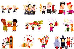 21款圣诞节可爱卡通插画矢量素材