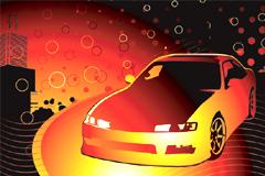 炫目色彩小汽车和潮流背景矢量素材